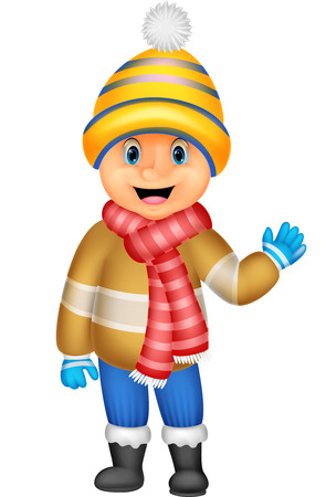 cartoon clothes: Cartoon a boy in Winter clothes waving
