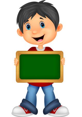 student boy: Cartoon boy holding board  Illustration