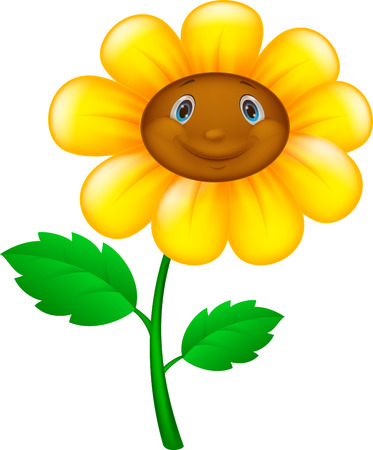 Cartoon bloem met gezicht Stock Illustratie