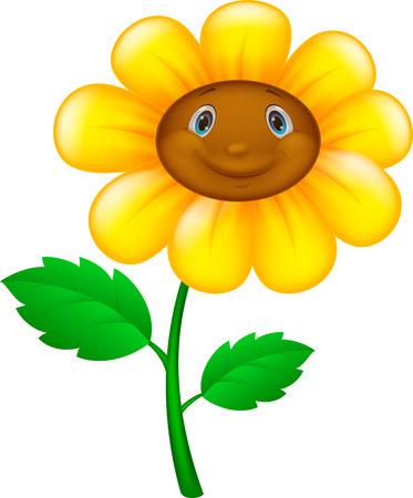 Fleur de dessin animé avec le visage