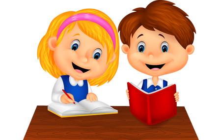 Cartoon Boy and girl study together 版權商用圖片 - 27649647