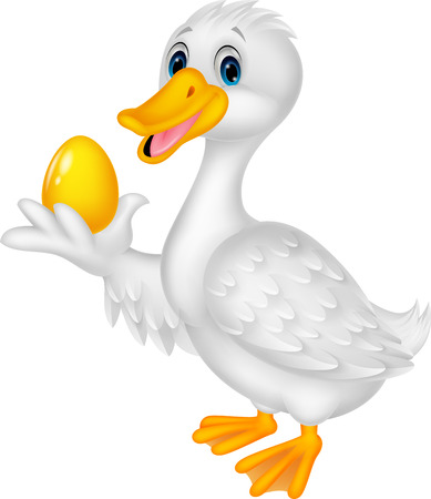 Cute duck cartoon holding golden egg