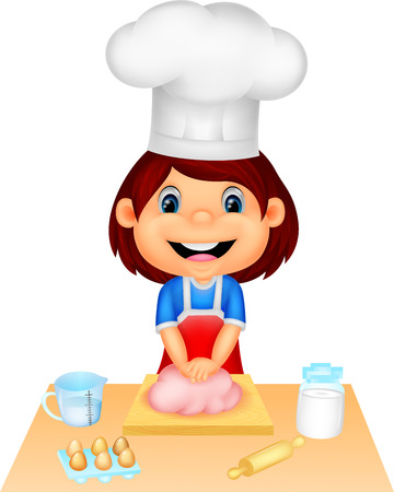 rolling pin: Little girl cartoon baking  Illustration
