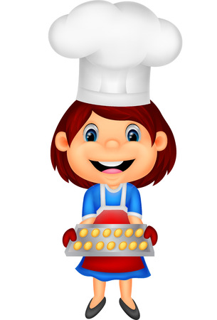 little chef: Little girl cartoon baking  Illustration