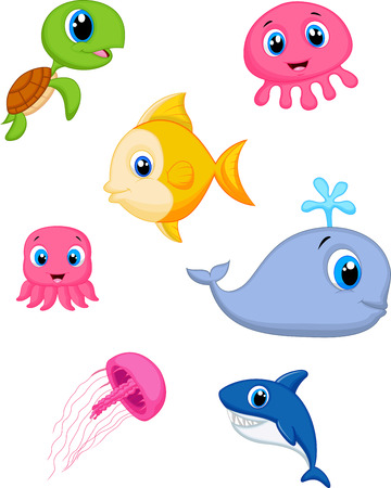 jelly fish: Sea life cartoon set