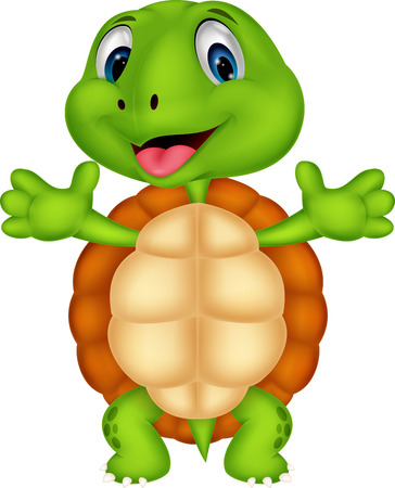 Cute turtle cartoon posing  矢量图像