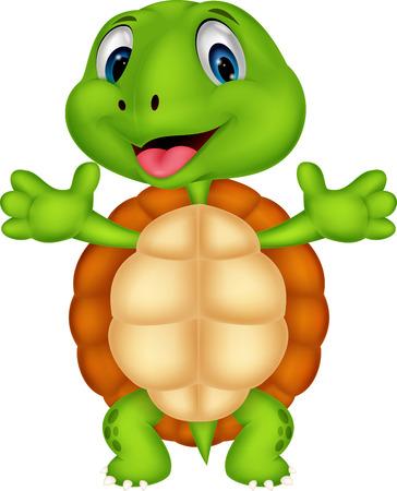 Pose de bande dessinée mignonne de tortue Vecteurs
