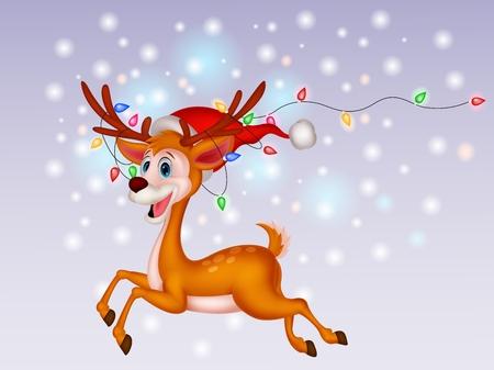 running reindeer: Cute deer cartoon with colorful bulb