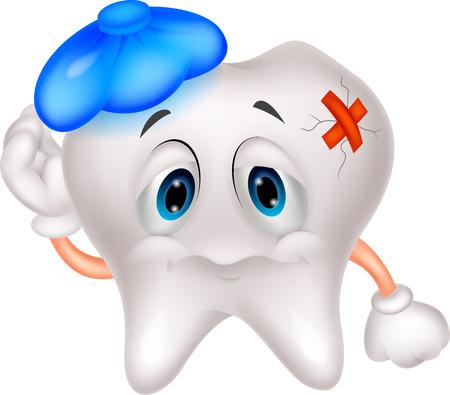 caries dental: Dibujos animados diente enfermo