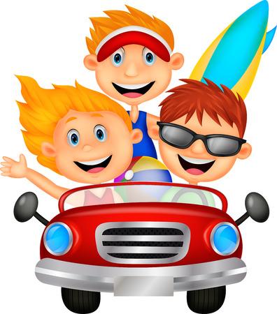 Hombre de la historieta y una mujer jóvenes se divierten conduciendo su coche en un viaje por carretera Vectores