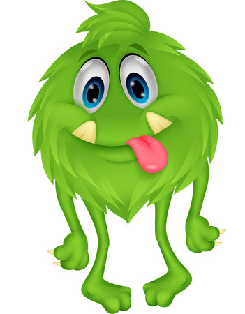 Cute hairy green monster cartoon