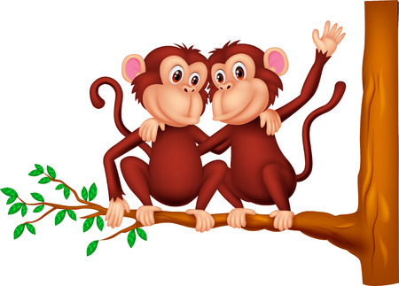 Two monkeys cartoon sitting on a tree Vector