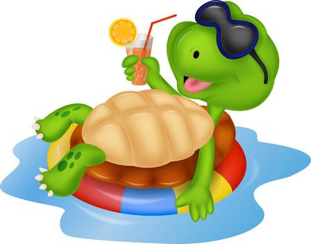 tortuga caricatura: De dibujos animados lindo de la tortuga en la ronda inflable