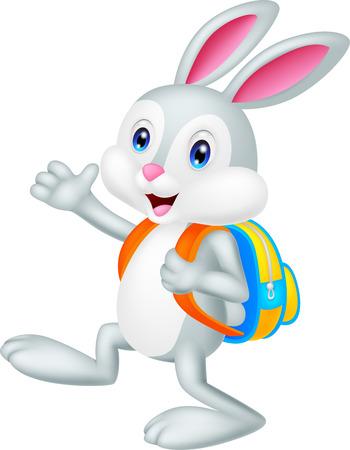 conejo caricatura: Conejo de dibujos animados con mochila Vectores