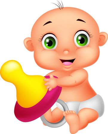 teething: Baby cartoon holding pacifier  Illustration
