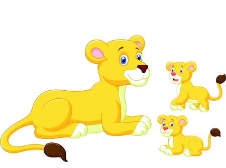 Cartoon Lioness and cubs Vector