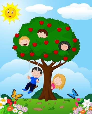 Cartoon children playing Illustration in an apple tree