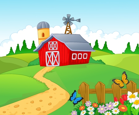 landscape garden: Farm cartoon background  Illustration