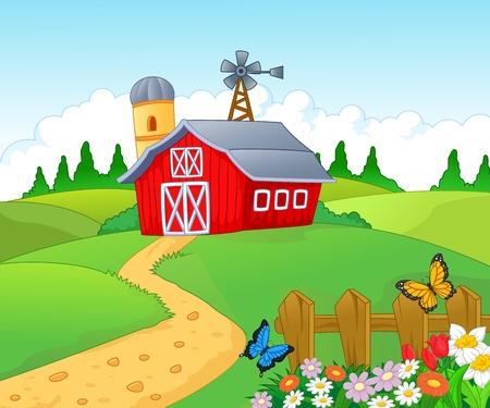 campagna: Farm cartoon sfondo Vettoriali