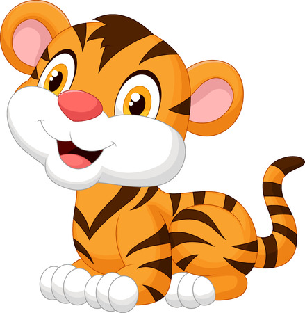 isolated animal: Cute baby tiger cartoon