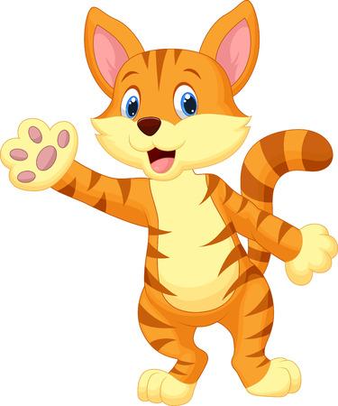 Cute cat cartoon waving hand  Illustration