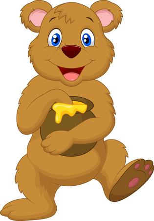 pot miel: Mignon dessin anim� ours tenant le pot de miel