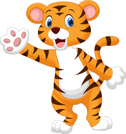 Cute tiger cartoon waving hand  Illustration