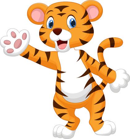 tigre caricatura: Lindo tigre de dibujos animados agitando la mano Vectores