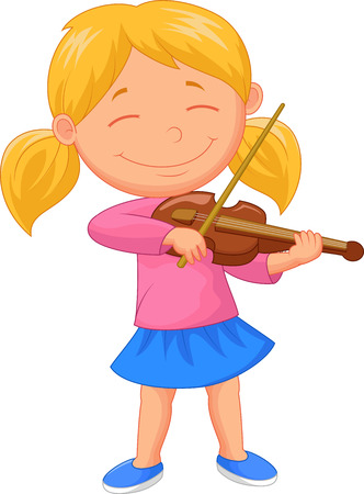 girls with bows: Little girl cartoon playing violin