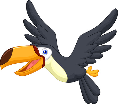 black bird: Cute cartoon toucan bird flying  Illustration