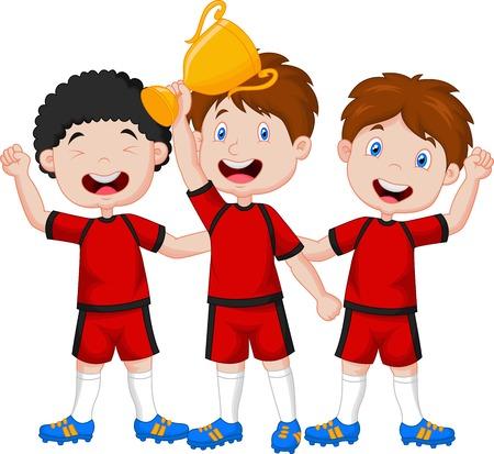 Little boys cartoon celebrate his trophy  Vector