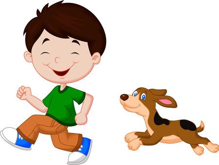 Cartoon a boy running with his pet