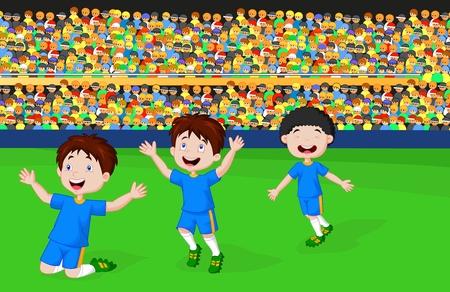 Children cartoon celebrate his goal  Vector