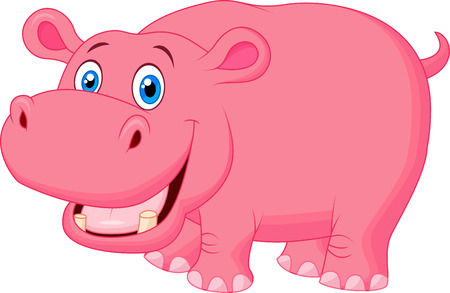 Cute hippo cartoon  Ilustracja