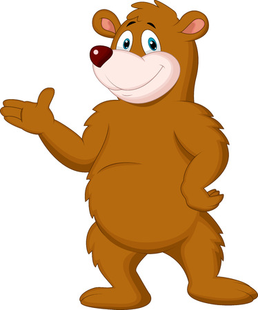 Cute brown bear cartoon presenting Фото со стока - 27656692