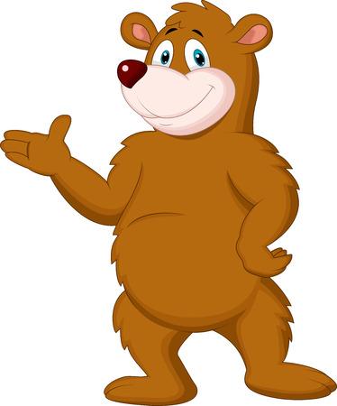 Niedlichen braunen Bären Cartoon Präsentieren Standard-Bild - 27656692