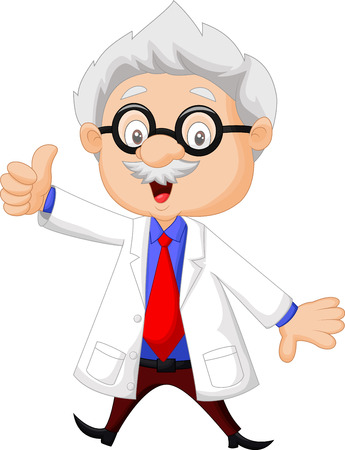 Professor cartoon thumb up  Illustration