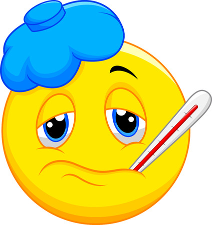 fever: Sick emoticon cartoon