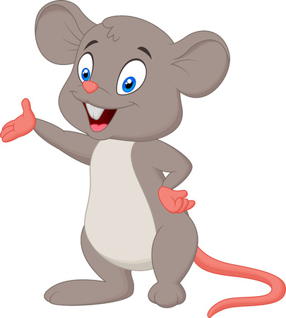 Cute mouse cartoon presenting  Illustration