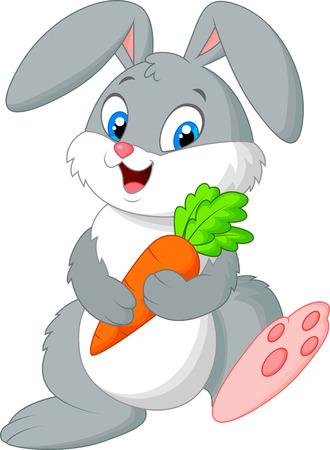 cute: Feliz conejo de dibujos animados con zanahoria