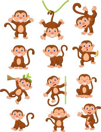 platano caricatura: Conjunto de recopilación de dibujos animados mono feliz
