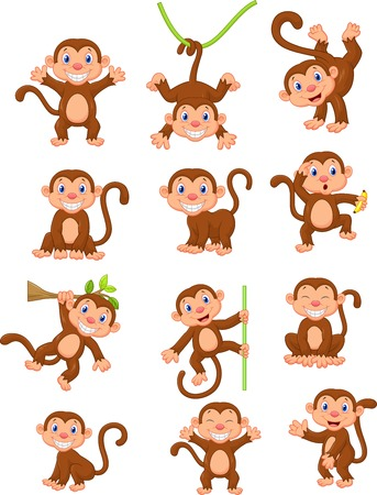 Happy monkey cartoon collection set  Vector