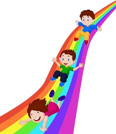 Kids cartoon Sliding Down a Rainbow Vector