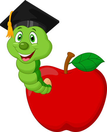 Cartoon Worm wearing a raduation cap crawling out of an apple