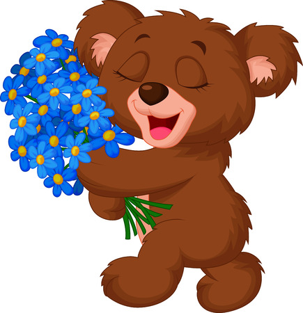 Cute little bear cartoon holding a bouquet Vector