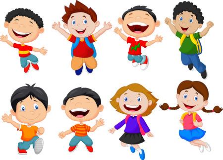 cheerful cartoon: Feliz de la escuela ni�o de la historieta Vectores