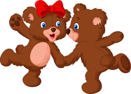 Cute bear couple cartoon dancing Vector