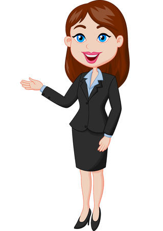 accountant: Smiling business woman cartoon presenting Illustration