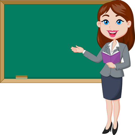Cartoon female teacher standing next to a blackboard  Illusztráció