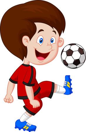 pelotas de futbol: Jugando al f�tbol de dibujos animados Boy